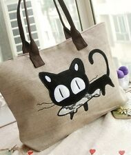 Cute Cat With Fish Canvas Tote Bag Natural Beige Women's Shoulder Bag