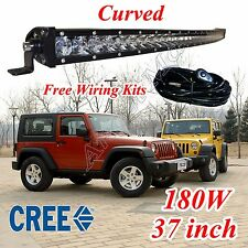 37/39'' 180W CURVED CREE LED WORK LIGHT BAR SPOT OFF ROAD 4WD TRUCK SINGLE ROW