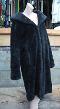 Black Coat 14-16 Wonderful Faux Fur Sumptuous Large Collar+Hoodie Warm & Elegant