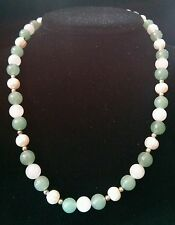 Freshwater Pearl, Rose Quartz Green Jade Stone and Sterling Silver Necklace 17in