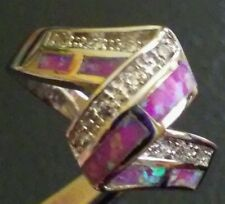 US SELLER~INLAY PINK FIRE OPAL AND CZ SILVER RING SIZE 7