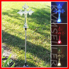 1-Piece Solar Powered Cross Garden Yard Stake Pathway Lawn Patio LED Sun Power i
