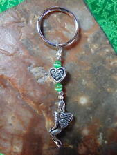 Dainty Petite CELTIC Knot Heart Sterling Silver Plated  IRISH FAIRY  KEY RING