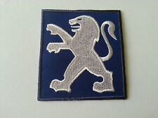 MOTORSPORTS MOTOR RACING CAR SEW / IRON ON PATCH:- PEUGEOT (a) BLUE LION