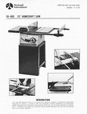 Delta Rockwell 34-660 10-inch Homecraft Saw Instructions