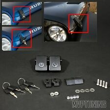 For 07-15 Jeep Wrangler JK/Unlimited Black Steel Hood Catch Locking Latches Pin