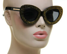 Retro Womens Cat Eye Sunglasses Gold Metal Black Plastic Frame Skull Walker