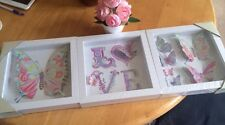 Set Of Three Girls Butterfly Nursery Framed Box Art 3d Effect Pictures Wall Art