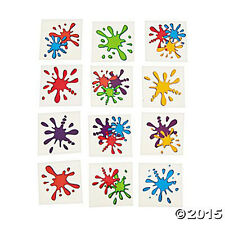 36 Assorted Fun Artist Paint Splash Kids Temporary Tattoos Party Favors