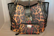 Leopard Print Purse with Black Trim & Studs & Matching Wallet 13-489 BLACK 172