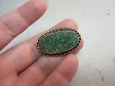 Vtg Catamore signed costume jewelry 12kt Gold filled jade stone brooch