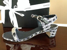 CHANEL 2016 Navy GreyTweed Ankle Strap Chain Pearl CC Sandals Shoes Sz.39.5 $800