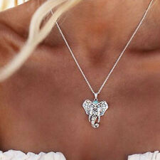 Vintage Womens Girl Tibetan Silver Elephant Choker Pendant Charms Chain Necklace