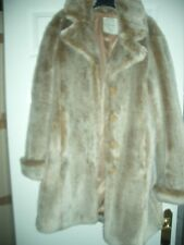 ladies John Lewis Faux Fur Swing Coat beige mix Size 12 m
