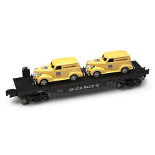 Menards ~ O Gauge Flatcar with Two Union Pacific Panel Cars