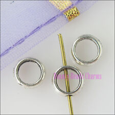 150Pcs New Silver Tone Charms Circle Beads Frame for DIY Crafts 6mm