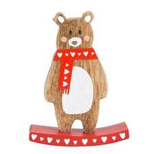 Piccolo vintage con Scandi shabby chic in legno Decorazione Di Natale Orso a Dondolo