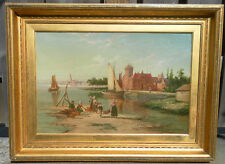 WILLIAM DOMMERSON (1850-1927) DUTCH OIL PAINTING AMSTEL RIVER AMSTERDAM HOLLAND