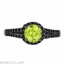 PERIDOT & ENHANCED BLACK DIAMOND COCKTAIL RING 1.40 CARAT 14K BLACK GOLD