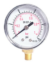 Low Pressure Gauge For Air Gas Oil or Water 50mm 0/15 PSI & 0/1 Bar 1/8 BSPT A