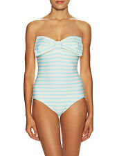 NWT $160 KATE SPADE NY Nahant Shore Striped One Piece Bow Swimsuit L Large 12-14