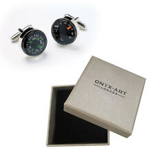 Mens Cufflinks Compass & Thermometer Rhod By Onyx Art