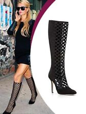 Haley Pointy Toe Laser Cut Cage Gladiator Knee High Stiletto Heel Boots Red