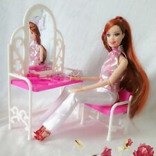 Lovely Set Dressing Table Chair for Barbies Dolls Dollhouse Bedroom Furniture