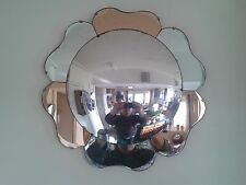 FABULOUS ORIGINAL CONVEX 1930's PEACH PETAL ART DECO VINTAGE PANEL MIRROR