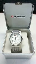 WENGER MEN'S WATCH SWISS MADE SAPPHIRE CRYSTAL STAINLESS STEEL MINT NIB!!