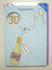 Gorgeous Hand-finished 30 Birthday Card Handmade 30th Thirty Champagne Bubbly