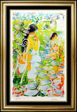 Le Pho Original Color Lithograph Hand Signed Female Portrait Artwork Authentic