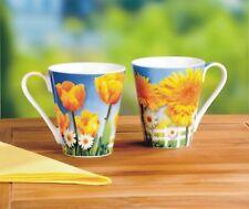 2 Kaffeebecher, Blütentraum, Porzellan, neu