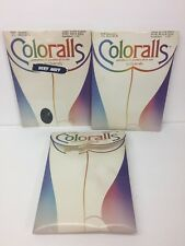 Vtg Coloralls Pantyhose Nylons Hose Hosiery Queen Size Black, Navy and Blue LOT