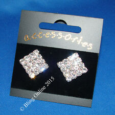 LARGE 1.5cm DIAMANTE CRYSTAL DRESS EARRINGS SPARKLY PARTY BLING STUDS BRIDE PROM