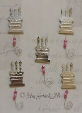 5x SILVER METAL BIRTHDAY CAKE & CANDLES WITH PINK BEADS WIRE CARD EMBELLISHMENT