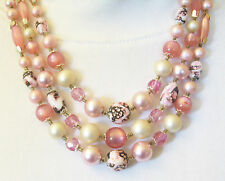 Vintage 3 Strand Pinks Beads Faux Pearls Necklace Textured Moonglow Satin