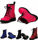 Ladies Women's Girl's Patent Fashion Designer Lace Up Boots Chunky Studded Shoes