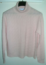Wendy B. 100% Cashmere Pink Diamond Pattern Turtleneck Sweater - sz L