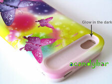 iPhone 4 4S Pink Skin Glow in the dark Hybrid Rainbow Butterfly Combo Cover Case