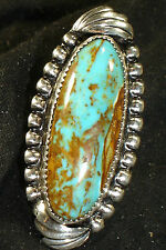 LONG NAVAJO STERLING SILVER TURQUOISE RING SIZE-8.25 NATIVE AMERICAN DEAD PAWN