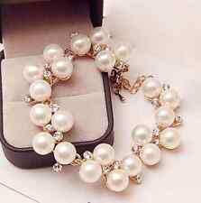 Gold Plated Simulated Pearl Charm Bracelet