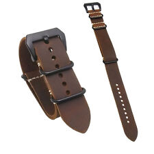 US Seller 26mm Watch Band Strap Military Style Leather Dirty Brown Fast Shipping