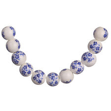 20pcs Loose Dark Blue Plum Blossom Round Porcelain Beads Spacer 10mm Findings