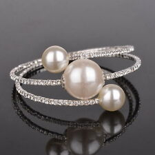 Flossy Big Faux Pearl Crystal Bling Beaded Bangle Wrap Bracelet Cuff Open