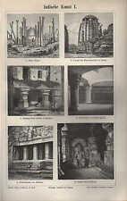 Lithografie 1896: Indische Kunst I/II. Stupa Tempel Felsenhalle-Tempel Skulptur