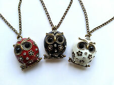 3 new retro vintage rhinestone crystal bronze owl pendants necklace- long chain