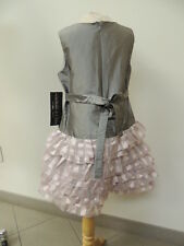 Isobella & Chloe Size 4  Silver Pink Formal Party Girls Designer Dress NWT