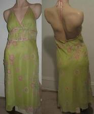Max Studio 100% Silk Dress Sz 12 Large UK 16 Green Pink Floral Halter Orig $158
