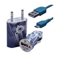 Mini Chargeur 3en1 Auto + Secteur USB + Câble Data avec CV07 pour Samsung :